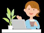 パソコンを前にコーヒーを飲んでいる女性のイラスト