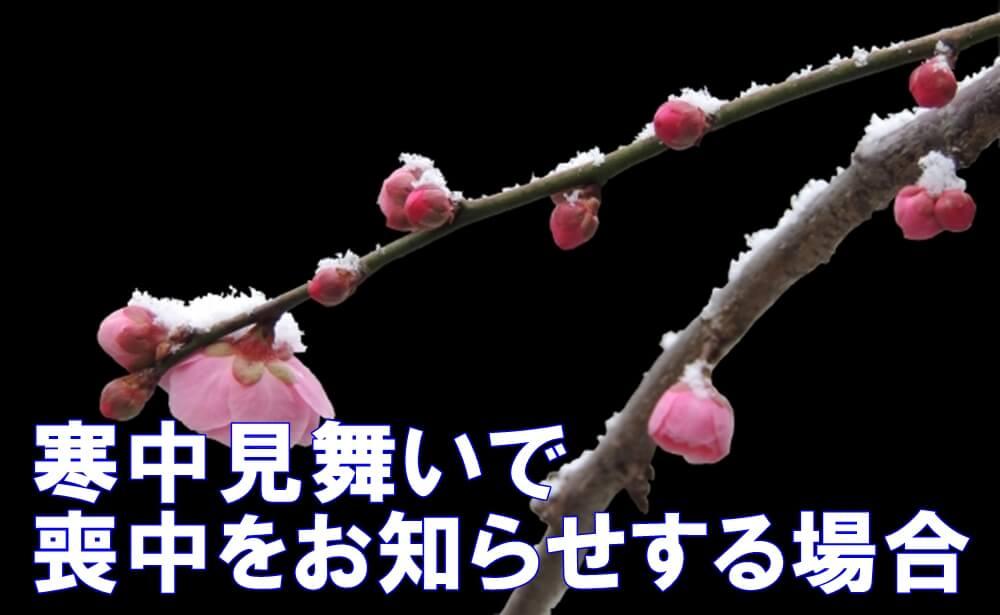 梅の花に雪が積もっている背景に「寒中見舞いで喪中をお知らせする場合」との文字が乗っている写真