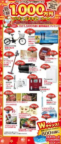 おたより本舗の年賀状印刷のユーザー向けプレゼントキャンペーンの概要図